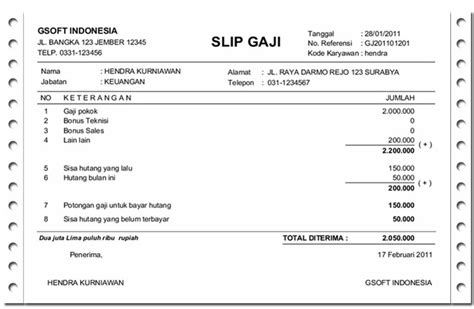 contoh slip gaji format pdf contoh slip gaji karyawan swasta dan pegawai negeri