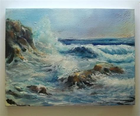 acrylic painting rocks impressionist seascape acrylic painting gail grant