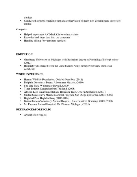 Veterinary Resume by Veterinarian Resume Resume Cover Letter Veterinarian