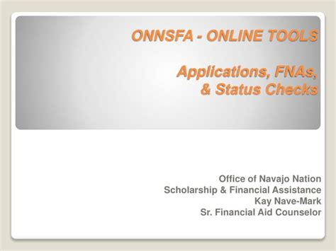 Navajo Nation Background Check Ppt Onnsfa Tools Applications Fnas Status Checks Powerpoint