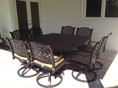 Nassau Cast Aluminum Powder Coated 8 Person Patio Dining 8 Person Patio Dining Set