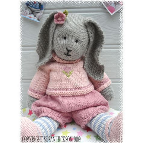knitting pattern rabbit toy primrose rabbit bunny knitted toy pdf email p folksy