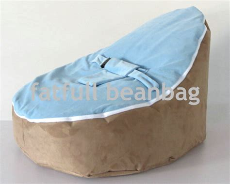snuggle bean bag cover only no fillings brown and blue top baby infant
