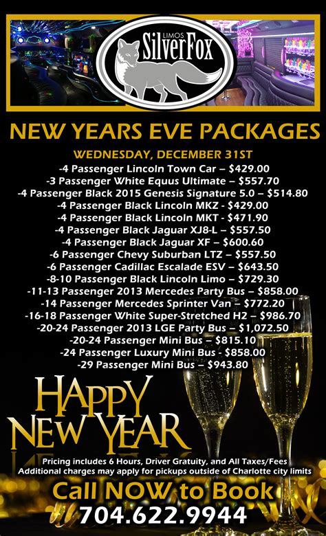new year packages 2015 new years limo packages silverfox limos