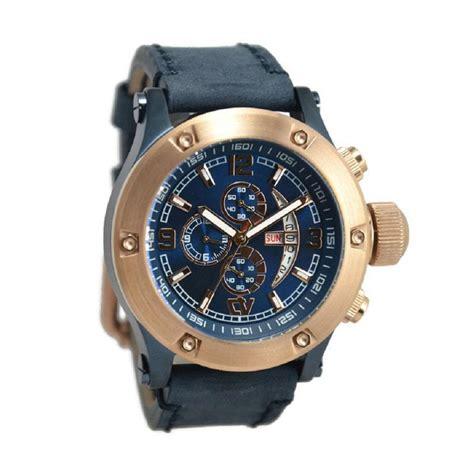 Jam Tangan Verra Pria jual verra 52300g 2j jam tangan pria navy plat biru ring rosegold harga