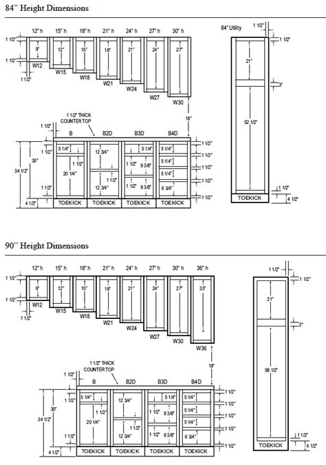 kitchen cabinet sizes chart woodcraft custom kitchen cabinet measurements