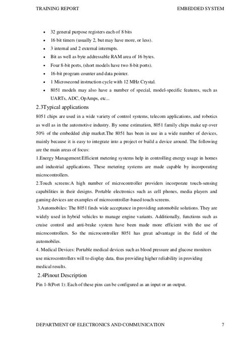 Embedded Systems Tester Cover Letter by Project Report On Micro Controller Embedded System