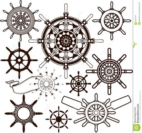 ship wheel collection stock vector image of symbol
