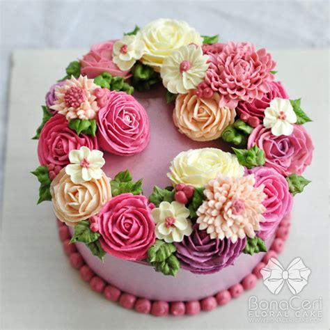 Wreath Style Korean Buttercream floral flower buttercream cake wreath style amazingly beautiful and roses great colors