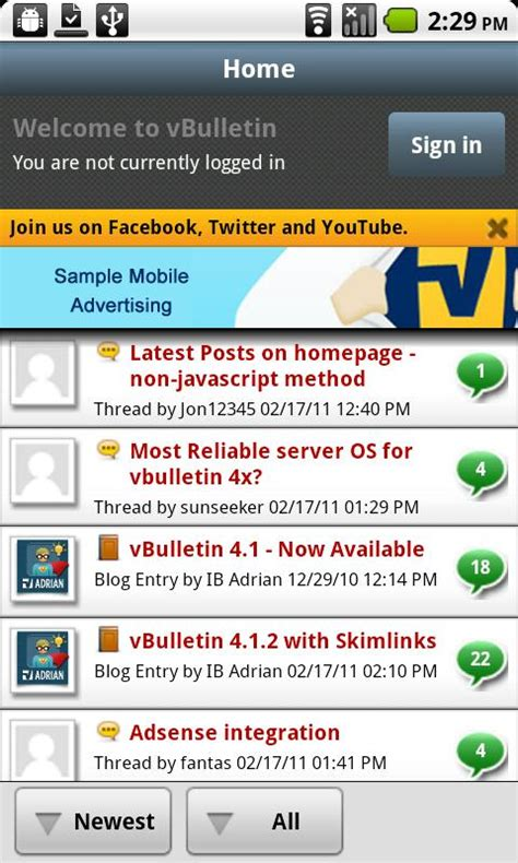 mobile forums vbulletin android app released vbtechsupport