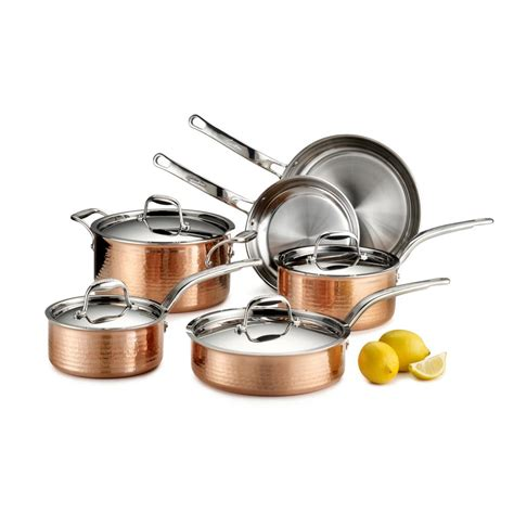 copper cookware set lagostina martellata 10 hammered copper tri ply cookware set q554sa64 the home depot