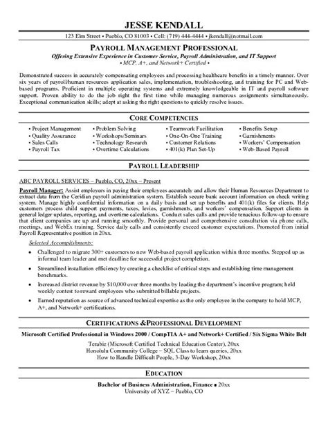 Resume Format Hr Payroll Executive Exle Payroll Manager Resume Free Sle