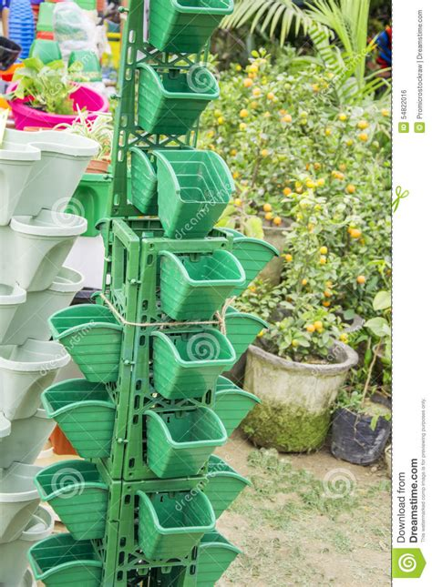 vertical garden pots stock photo image of vertical
