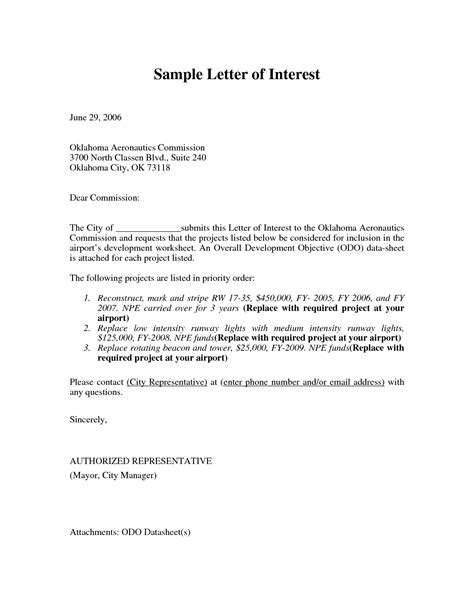 Of Interest Sle format for letter of interest position letter