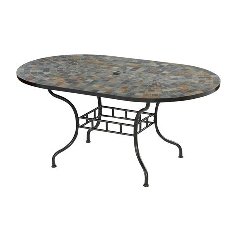 Home Styles Stone Harbor 65 In X 40 In Slate Tile Top Slate Top Patio Table