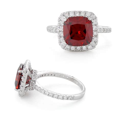Cushion Cut Garnet Sterling Silver Cushion Cut Garnet Cz Ring