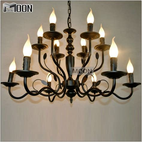 Wrought Iron Dining Room Light Fixtures by New Arrival Wrought Iron Pendant Light 12 Lights Black Suspension L For Dining Room Vintage