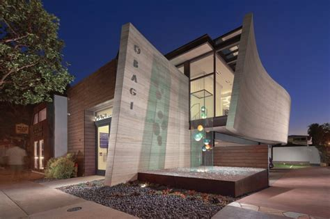 Obagi Skin Health Institute | silver travertine walls sheltering obagi skin health