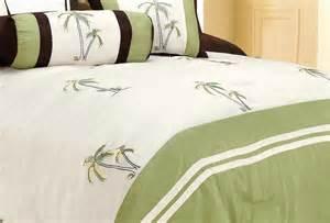 Palm Tree Comforter Set 7pc Green Palm Tree Catalina Island Tropical Embroidery