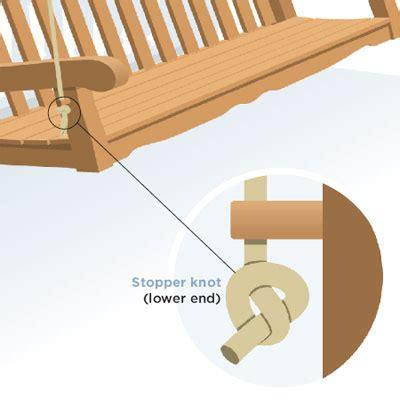how to hang a porch swing with rope rope knot lower end how to build and hang a porch swing