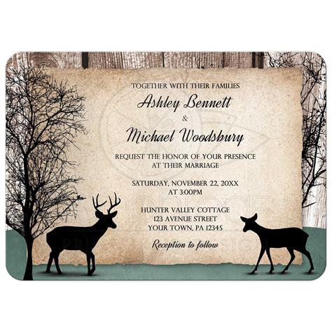 deer wedding invitations wedding invitations deer rustic woodsy
