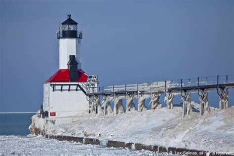 michigan city indiana lighthouse in the winter
