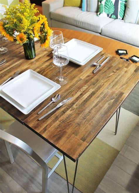 diy dining table hairpin legs diy d dining table with leaves using ikea countertop and
