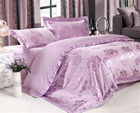 Pastel Bedding by Pastel Purple Flowers 4 Silk Like Bedding Sets