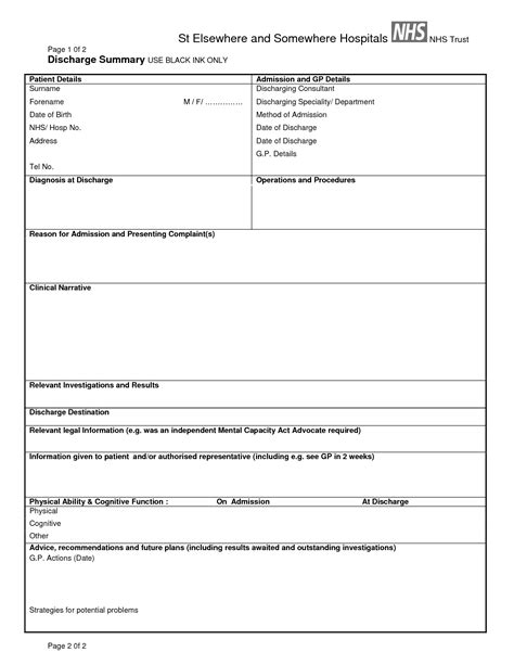 discharge form template pin hospital discharge summary report on