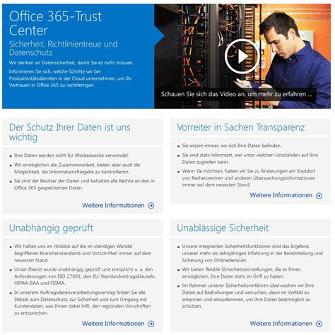 Office 365 Trust Center Im Office 365 Trust Center Wirbt Microsoft Um Vertrauen In
