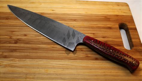 damascus steel custom damascus steel chefs knife by iron wolf forge