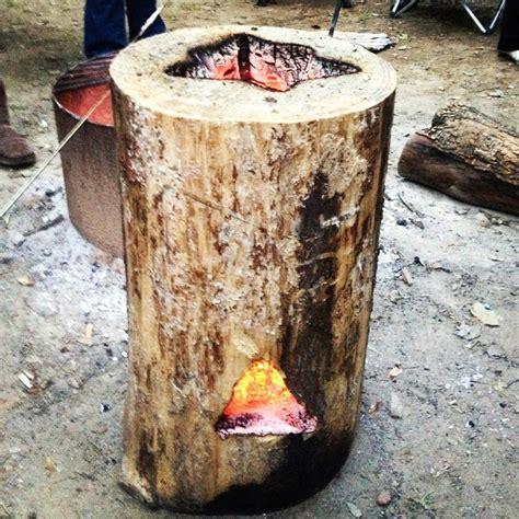 feeding fire log great  camping  backyard parties les bricoles pinterest fire