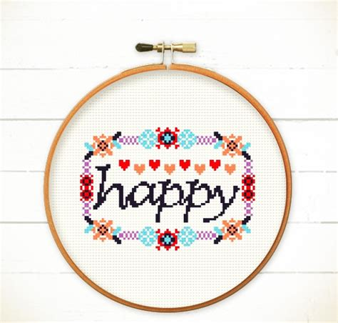 quotes about pattern design cross stitch pattern pdf happy in floral frame instant