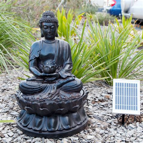 buddha solar water fountain  led light
