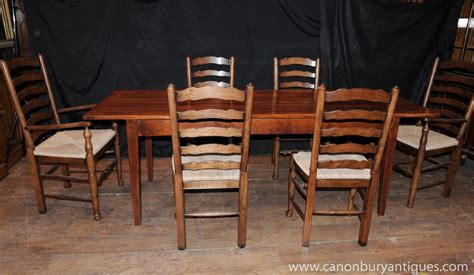 Farmhouse Dining Table And 6 Chairs Farmhouse Kitchen Dining Set Refectory Table Set 6 Ladderback Chairs