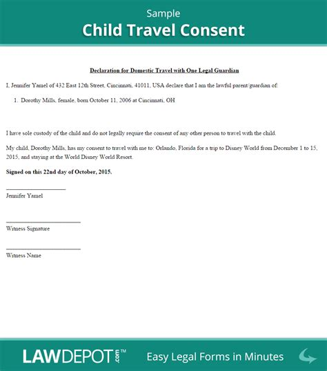 Child Travel Consent Free Consent Form Us Lawdepot Letter Of Consent For Travel Of A Minor Child Template
