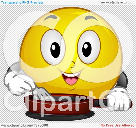 kitchen emoji clipart of a smiley emoji cooking with a frying pan