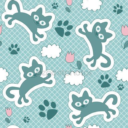 javascript pattern float cute seamless pattern with floating kittens stock vector