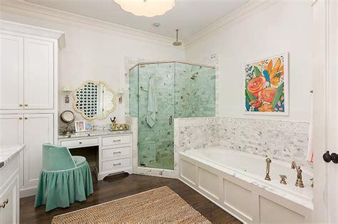 Herringbone Rug Teal Vanity Stool Transitional Bathroom Colordrunk
