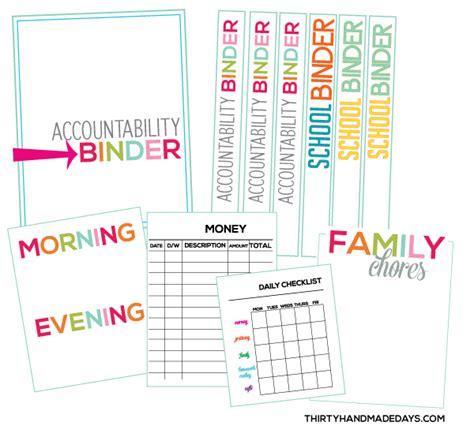 printable organization binder accountability binders teach your kids responsibility