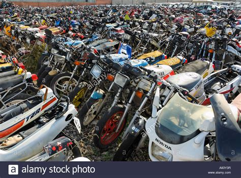 Motorrad Schrottplatz Frankfurt by Row Of Motorcycle In Scrapyard Stock Photo Royalty Free