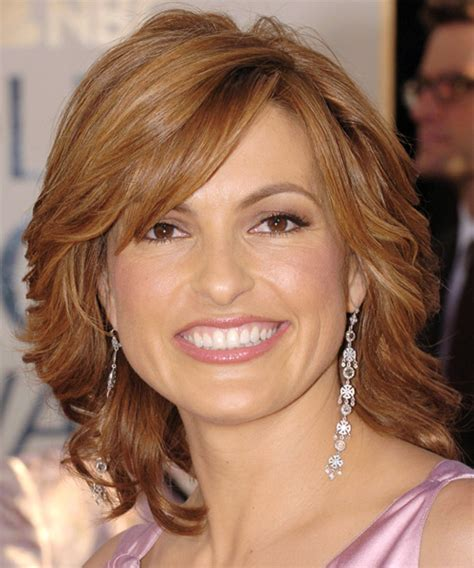 mariska hargitay short hairstyles front and back views mariska hargitay medium wavy formal hairstyle with side