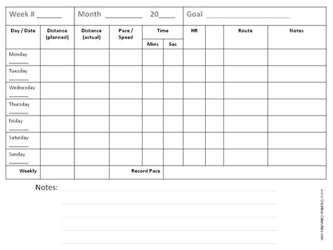 running calendar template running log