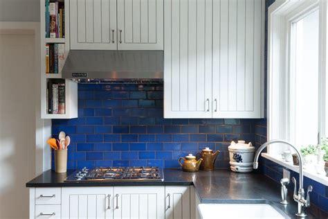cobalt blue backsplash kitchen contemporary with black