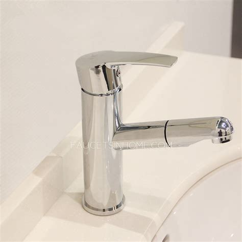 modern copper deck mount bathroom faucet pull out spray