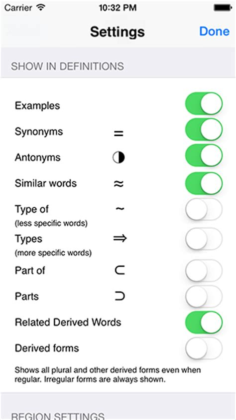 thesaurus word pattern wordweb iphone dictionary and thesaurus