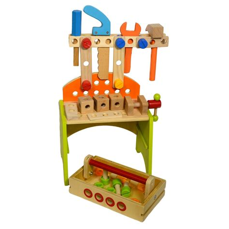 Tool Box Bench Wooden Toys wooden diy workbench learning pretend play tool set