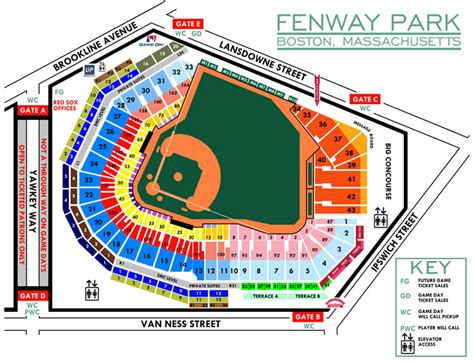 fenway seat chart fenway park seating chart