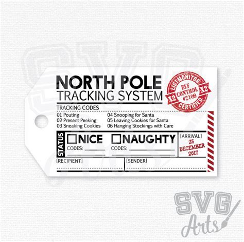 Gift Card Tracking System - printable gift tag north pole tracking system 2 x 3 5