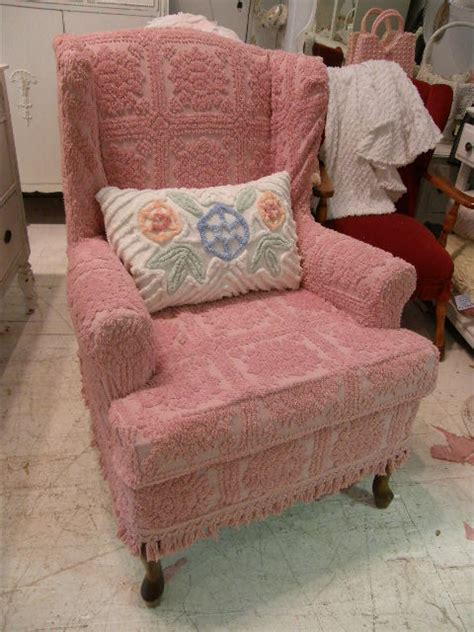 shabby chic wingback chair slipcovered with pink vintage